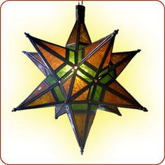 """Morovian Star Lamp  http://www.berbertrading.com/pd-damascus-chandelier-8.cfm#"" I love these colors!"