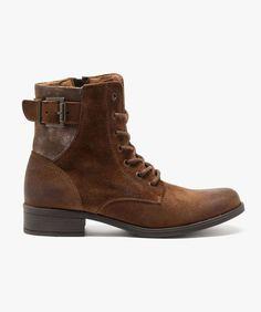 Boots dessus cuir avec empiècement arrière brillant