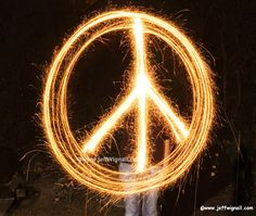 Peace Sign with Sparklers by Jeff Wignall, via Flickr