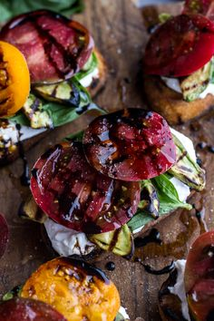 grilled caprese toast with burrata and grilled avocados