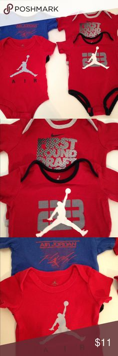 """Baby Boys Bundle sz 6 Mos Air Jordan Onesies Nike Lowest price here! Set of 4 Onesies, all about size 6 months. They are gently used with some fading, but overall clean. Average measurements are 10"""" underarm flat, and 16"""" long from neck. Bundle and save! Nike One Pieces Bodysuits"""