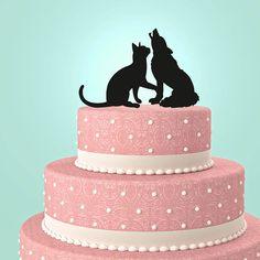 Wedding Cake Topper Cat&Wolf by URARTDESIGN on Etsy, $14.00