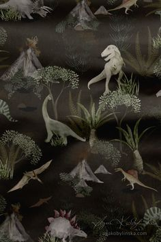 """Dino World"" - a textile design collection, hand illustrated with watercolor by Aga Kobylińska, featuring dinosaurs, jurassic plants. Prints available on baby products (bedding, sleeping bags, bags, clothes) of Makaszka brand. (makaszka.pl) For nature lovers, kids, toddlers, mums, parents. Fall decoration, bedroom ideas, outdoor indoors, beautiful nursery, earth tones. Textile Design, Fabric Design, Paper Illustration, Sleeping Bags, Aga, Surface Pattern Design, Earth Tones, Baby Products, Dinosaurs"