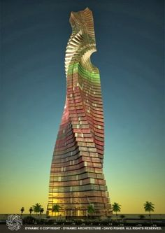 """Rotating Tower, Dubai   The Dynamic Tower (also known as Dynamic Architecture Building or the Da Vinci Tower) is a """"planned"""" 420-metre (1,378 ft), 80-floor moving skyscraper in Dubai, United Arab Emirates, designed by architect David Fisher.  ---each floor will be able to rotate independently. This will result in a constantly changing shape of the tower. Each floor will rotate a maximum of 6 metres (20 ft) per minute, or one full rotation in 90 minutes."""