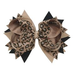 Stacked Hair Bows►○◄ ♥  Grosgrain Ribbon Stacked Bow, Animal Print, Leopard, Beige and Black, tiny touch of gray. Beautifully Made, Excellent quality ribbon! This bow is 5 1/2 long, 4 deep and stands 2 1/2 high. Stay-in alligator tooth clip is 2 1/2 long. This super cute little