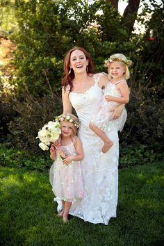 say cheese! photo by Pepper Nix Photography http://ruffledblog.com/backyard-chic-utah-wedding #flowergirls