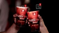 Budweiser Büddy Cup with QR code for Facebook integration.