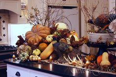 any Thanksgiving Dinners will be served buffet style, as mine is!  We set our tables and fuss with our centerpieces but what do you do with the buffet table? Today's inspiration comes from StoneGable's kitchen… where we set our island, buffet style, for Thanksgiving dinner.  ulling the pumpkins from inside and outdoor seasonal more »