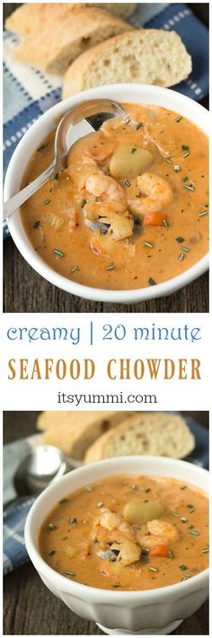 This creamy seafood chowder recipe begins with an easy-to-make homemade seafood stock. Potatoes, shrimp, crab, and lobster meat are added. via @itsyummi #seafoodrecipes