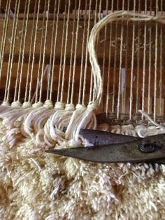 Making rya rugs. Better than one loop at a time
