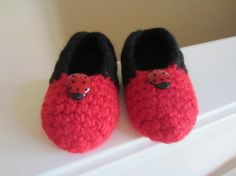 Toddler or Child's Felted Ladybug Slippers Red & Black by TooCozy