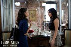 Things get heated between Ava (Kim Kardashian) and Judith (Jurnee Smollett) in this all-new pic from Tyler Perry's #Temptation.