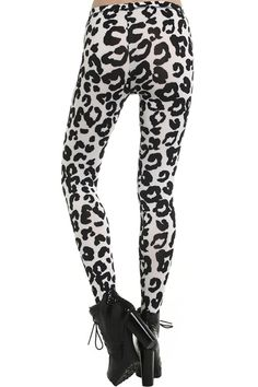 "ROMWE | ""Black Leopard"" White Leggings, The Latest Street Fashion #Romwe"