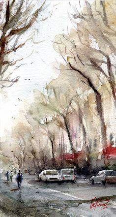 LE COURS MIRABEAU (Aix-en-Provence) par Pierre Gutierrez