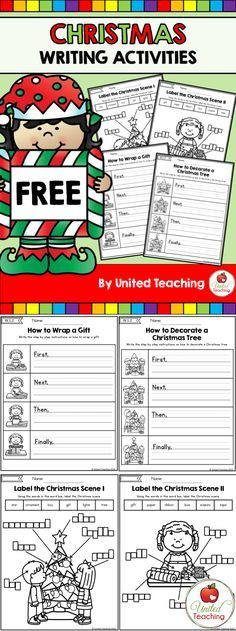 Free Christmas themed step by step instruction writing activities.