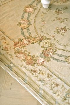 Beautiful detail of French Aubusson Carpet, great in Gustavian interior.