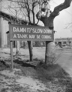 "A sign stating ""DAMN IT! SLOW DOWN: A TANK MAY BE COMING"", is posted at intersection in the American sector during the campaign to take the Anzio area in Italy from occupying German forces during World War II."