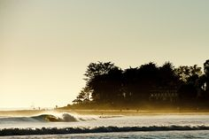 """With thinning crowds and a calming glass shaping the lineup, California afternoons can be the best time to paddle out. """"Here, the Queen of the Coast shows that it's in the evenings when she really begins to shine,"""" says Chris. Photo: Burkard"""