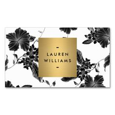 A vintage wallpaper pattern is transformed into a modern backdrop when combined with a faux metallic gold box containing your name or business name on this glamorous business card template. © 1201AM CREATIVE