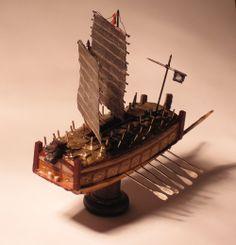 Miniature Korean Turtle Ship with Silver Oars and Tiny Dragon Head on Prow Tiny Dragon, Dragon Head, Turtle Ship, Boat Stuff, Wooden Ship, Model Ships, Cthulhu, Santa Maria, Boats