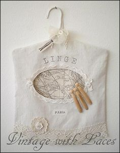 French Inspired Clothes Pin Bag from vintage with laces blog love the things she comes up with.