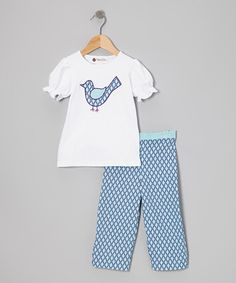 Take a look at this White Bird Ruffle Top & Blue Pants - Toddler & Girls by Smockadot Kids on #zulily today!