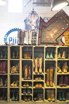 I could do this for boot storage! boot corner in JUNK GYPSY store {junk gypsy co ~ april pizana photography} Westerns, Boot Rack, Shoe Rack For Boots, Boot Storage, Closet Storage, Into The West, Store Displays, Gypsy Style, Cheap Storage