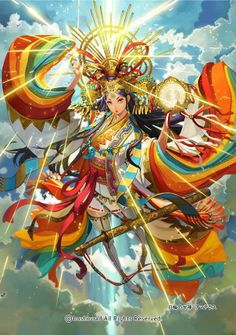 Amaterasu ~ Japanese Sun Goddess represents light in both it's physical and metaphorical sense. Amaterasu shines light on hidden things, and is a protector against deception. One of her symbols is the mirror, Japanese Goddess, Japanese Mythology, Amaterasu Omikami, Character Art, Character Design, Takayama, Tokyo Otaku Mode, Fantasy Kunst, Anime Kunst