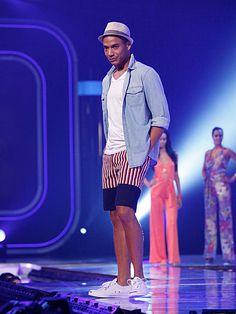 Nzimiro's Red, White and Blue-Striped European-Cut Shorts #FashionStar