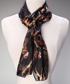Western Style: Women's Accessories  -  Black Horse Scarf - Zulily