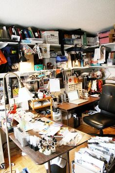 EntireOffice-Julie Fei-Fan Balzer's space is the one I can most relate to: it has to be functional! Craft Room Storage, Craft Rooms, Bright Paint Colors, Art Studio At Home, Basement Ceilings, Basement Bars, Basement Ideas, Sewing Rooms, Space Crafts