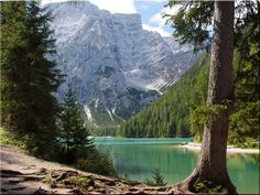 The Pragser Wildsee in the Prags Dolomites in South Tyrol
