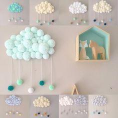 35 Creative Brings Handmade Clouds into Homes for Winter – handmade – Home crafts Kids Crafts, Diy And Crafts, Craft Projects, Projects To Try, Arts And Crafts, Baby Room Decor, Nursery Decor, Diy Y Manualidades, Pom Pom Crafts