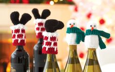 Loops & Threads® Impeccable™ Snowman Bottle Toppers (Knit)
