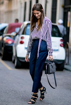 10 Spring Work Outfit Ideas to Copy ASAP | Striped shirt, navy trousers, and chic heeled sandals