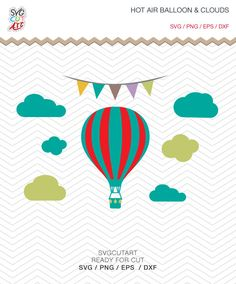 Hot Air Balloon with Clouds SVG DXF EPS png kids nursery Cricut Design, Silhouette studio, Sure Cuts Lot, Make the cut, instant Download by SvgCutArt on Etsy
