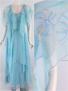 70s Light Blue Maxi Dress - sm, med