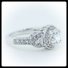 Moissanite Engagement Ring Diamond Side Stones by SerenadeDiamonds Three Stone Engagement Rings, Diamond Engagement Rings, 14k Gold Ring, Gold Rings, Bridal Jewelry, Unique Jewelry, Diamond Settings, Moissanite, Colored Diamonds