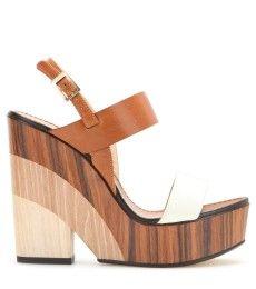 Jimmy Choo - Notion leather and wood wedge sandals - mytheresa.com