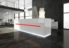 The Essence is an Italian reception desk designed by Perin & Topan. It is available in 5 standard sizes or made to order. Reception Desk Design, Reception Counter, Reception Desks, White Office Furniture, White Desk Office, Office Interior Design, Office Interiors, Modern Interior, Strip Lighting