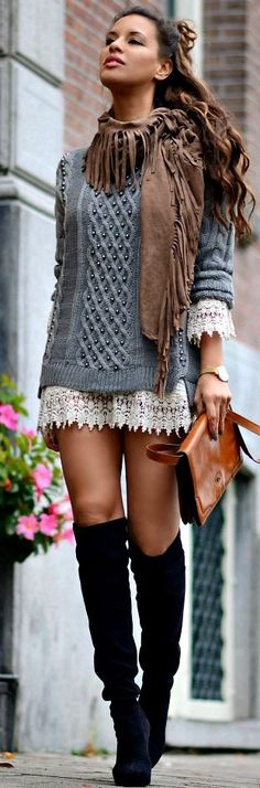 Cable Knit And Crochet Mix Fall Streetsyle Inspo women fashion outfit clothing stylish apparel @roressclothes closet ideas