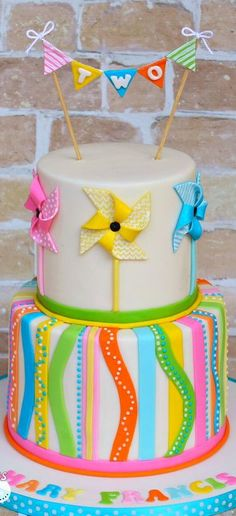 Pinwheels and Stripes Cake with Bunting