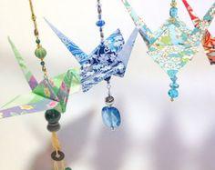 New origami crane ornament mobiles ideas Origami Christmas Ornament, Origami Ornaments, Origami Gifts, Fabric Origami, Origami Paper, Hanging Origami, Fun Origami, Origami Ideas, Oragami