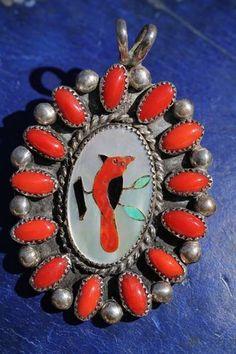 Vintage Navajo Roland Begay Sterling Silver Red Coral Cardinal Bird Pendant