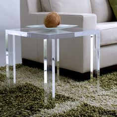 Square Lucite Parsons Table | Mecox Gardens