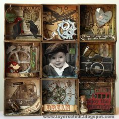 Tutorial per una memory box in stile Tim Holtz. Layers of ink: Shadow Box Tutorial Shadow Box Kunst, Shadow Box Art, Altered Boxes, Altered Art, Art Projects, Projects To Try, Paper Crafts, Diy Crafts, Assemblage Art