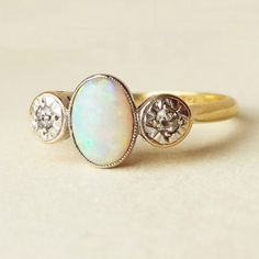 One of a Kind Art Deco Opal, Diamond , Platinum and 18k Gold Engagement Ring Approx Size US 6.25 / 6.5