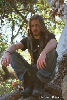 ...Because I need a visual for my musician, Dallas. His real name is Corey Raymondo, bass player for SinStorm Viking Men, Boys Long Hairstyles, Really Long Hair, Man With Long Hair, Long Hair Guys, Cute Guys, Hair And Beard Styles, Curly Hair Styles, Long Locks