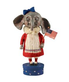 Ellie The Americana Elephant. 4th of July Figurine. Patriotic Elephant. So Cute! July 4th Decorations.
