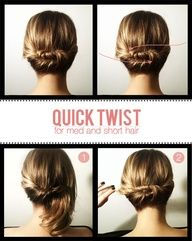 If you don't wear your hair long, are you out of luck when it comes to updos? No, says the woman behind this simple twist, who created it for medium-length and even shorter hair. Click on the photo for the steps.